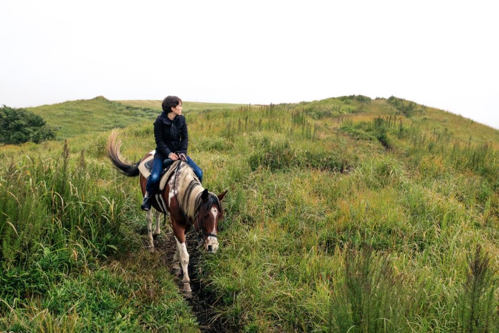 Mika, à dos de cheval dans les paysages d' Aso