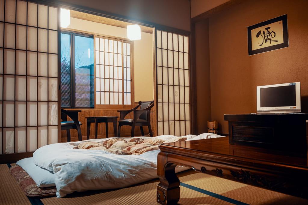 chambre traditionnelle japonaise du ryokan ikenoyamaso