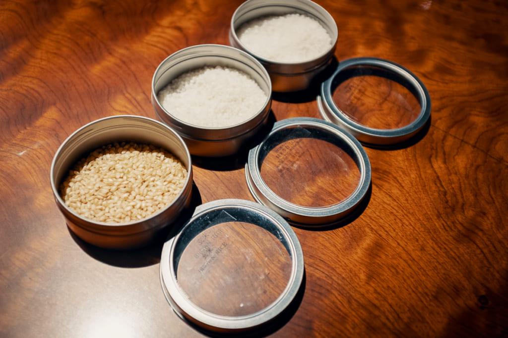 les différents stades de polissage du riz