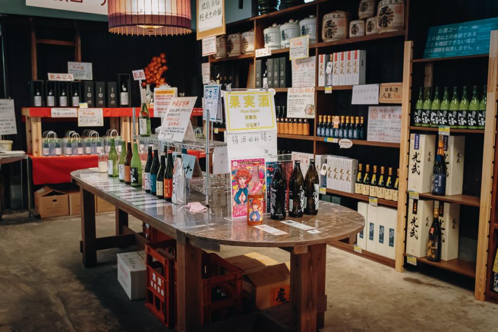 le plus grand pannel de saké à la dégustation du quartier hizen hamashuku, célèbre vieux quartier de la préfecture de saga