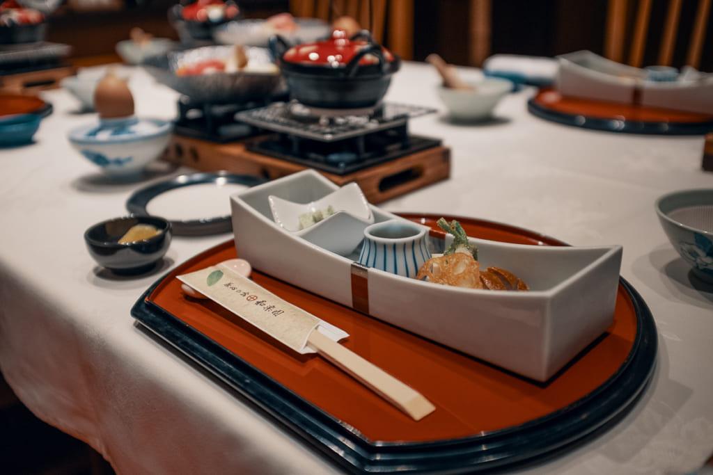 dîner gastronomique du ryokan warakuen