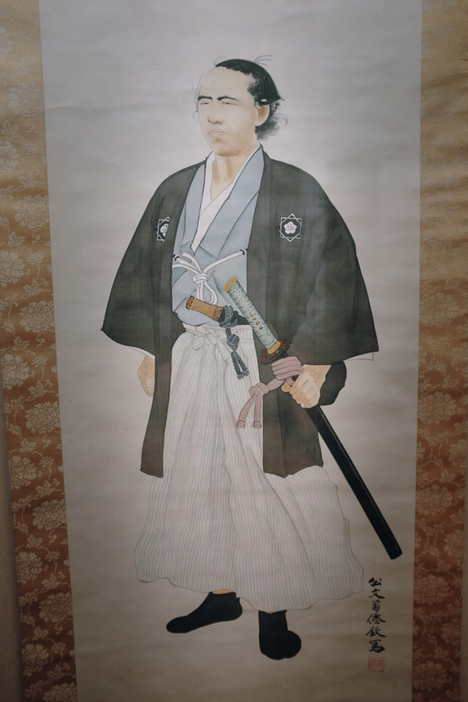 Portrait de Ryoma Sakamoto accroché au restaurant Kagetsu