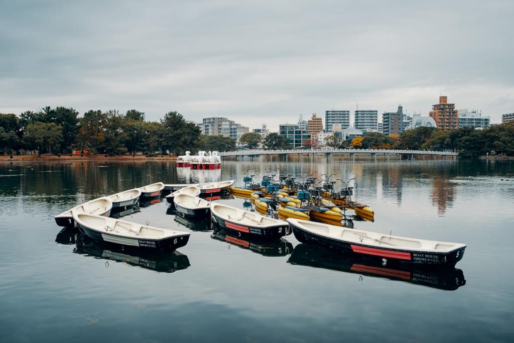 bâteaux sur le lac du parc Ohori