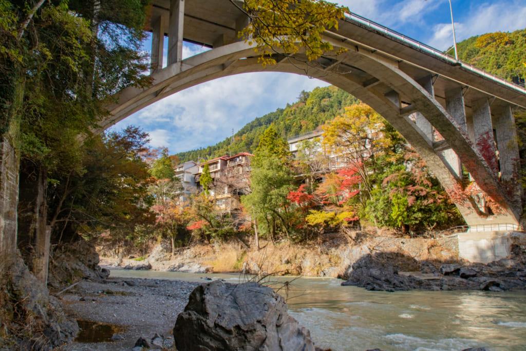 Magnifique pont surplombant les gorges Mitake