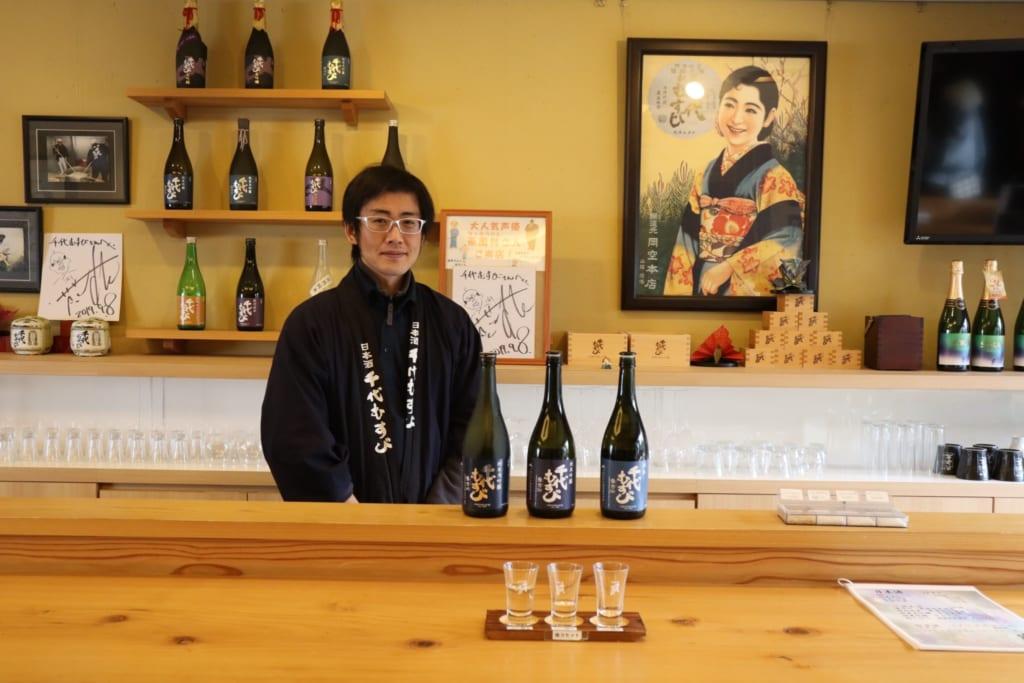 dégustation de saké dans la brasserie chiyo musubi