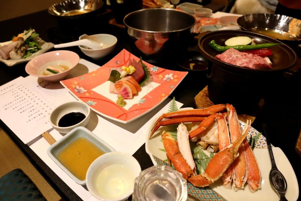 Repas au ryokan misasakan, et ses plats de spécialités de tottori