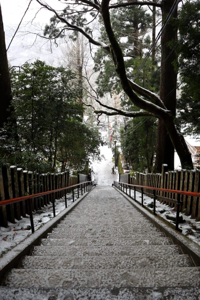les escaliers de la montagne mitoku à tottori