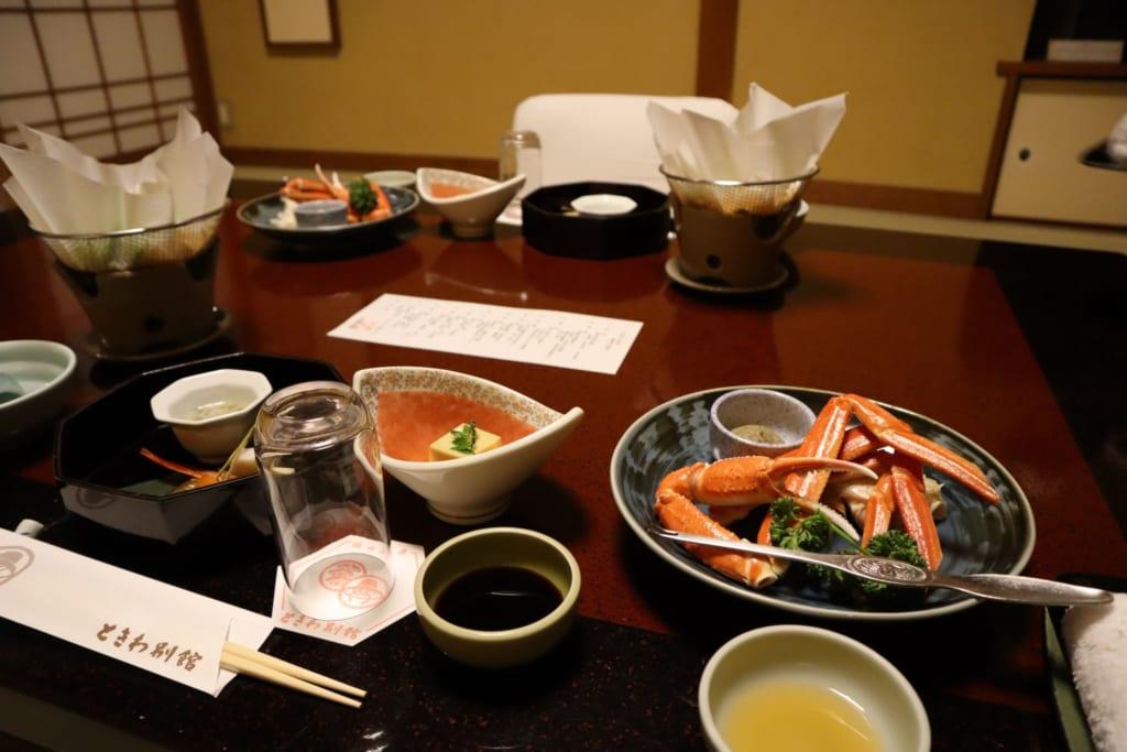 le repas du ryokan à kinosaki onsen