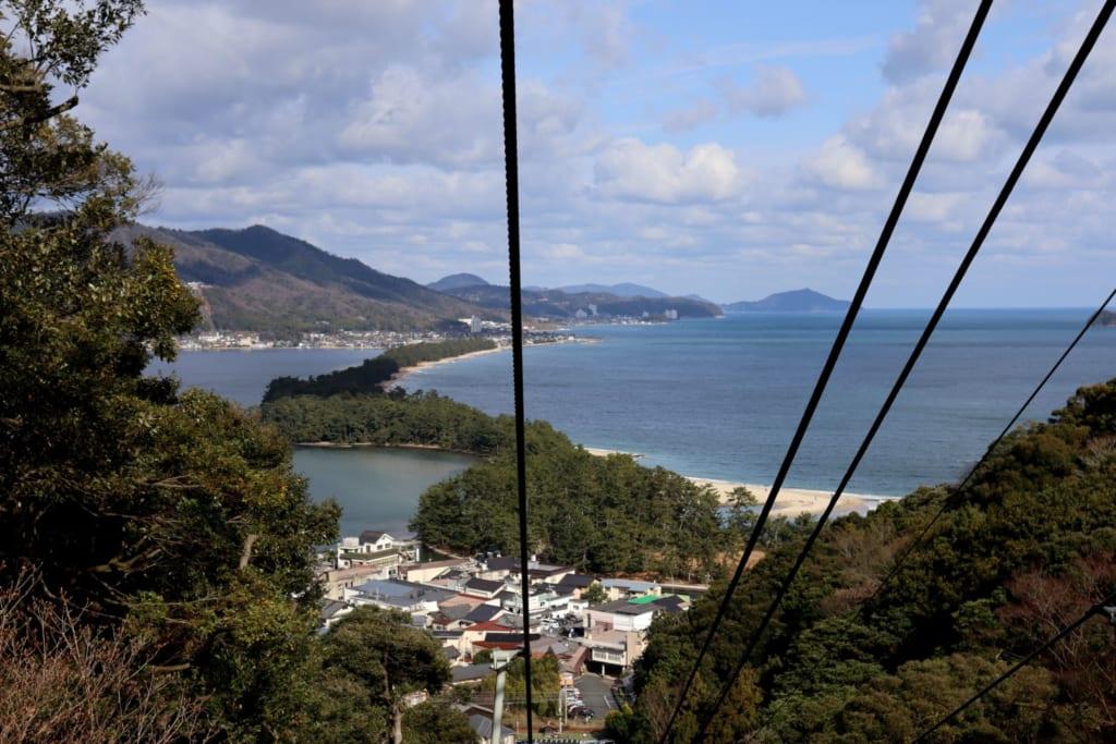 Le télésiège qui monte juqu'au amanohashidate viewland pour observer la mer du Japon