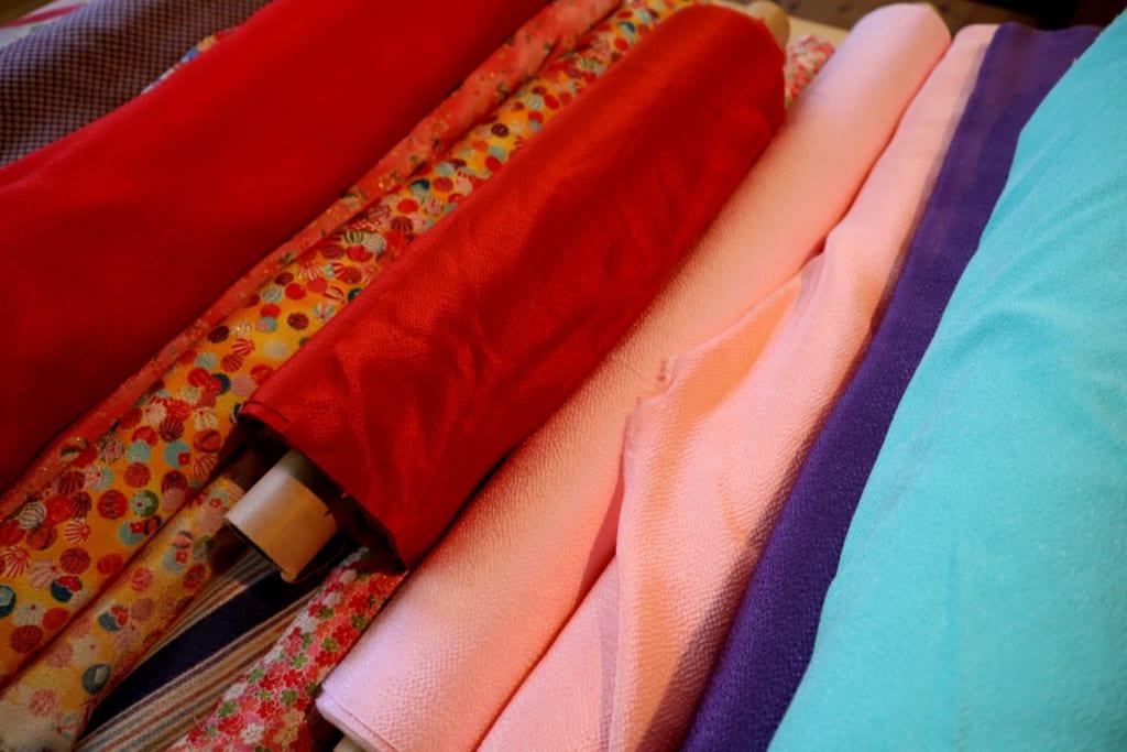 Rouleux de tissus traditionnel au tango chirimen museum