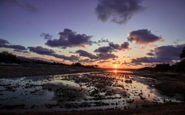 Coucher de soleil sur l'île de Sado, sur la mer du Japon