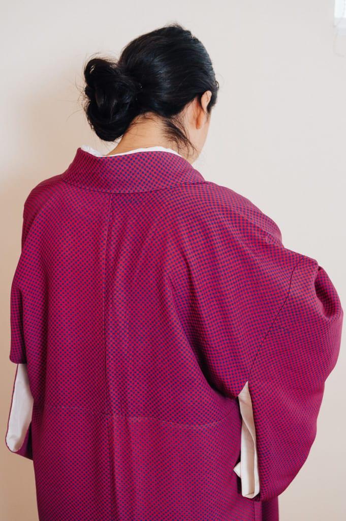 Le col d'un kimono ajusté correctement