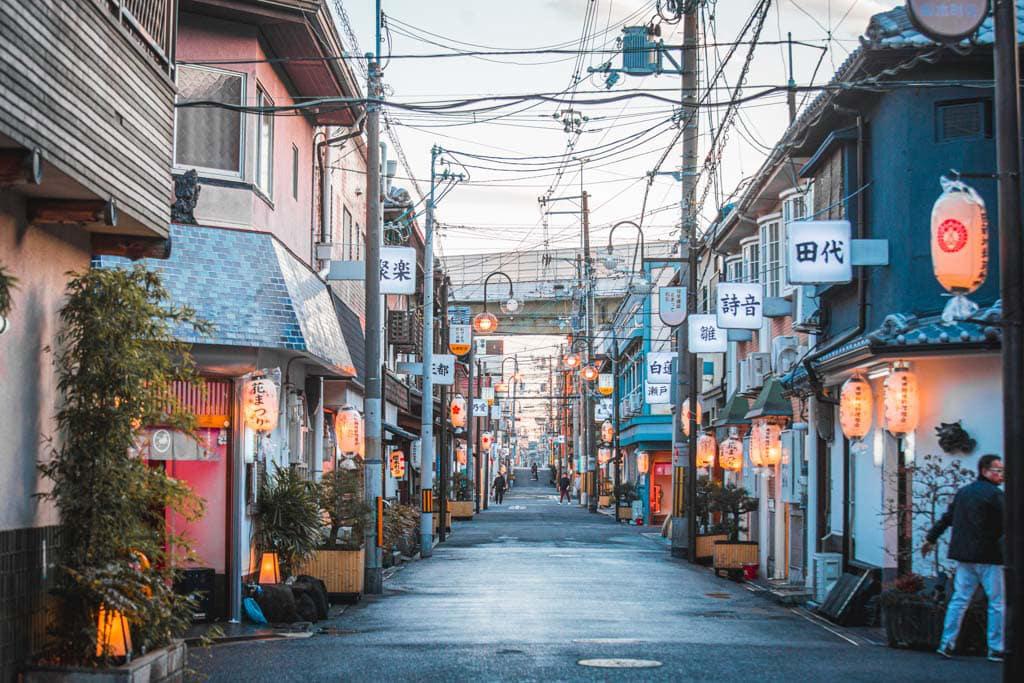 le quartier de Tobita shinchi durant le jour