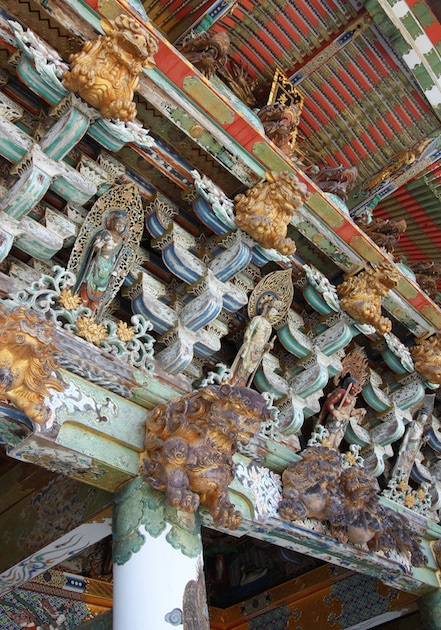 Ornements et détails de la porte Koyomon du temple Kosanji