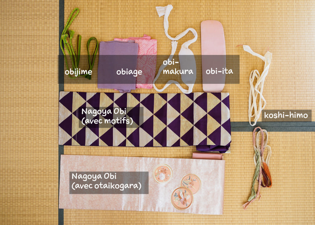 les accessoires nécessaires pour nouer un Nagoya Obi