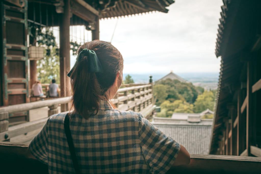 Vude dégagée de Nara depuis un temple japonais sur pilotis