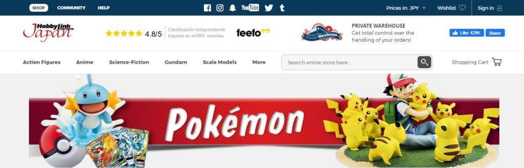 La boutique en ligne HobbyLink Japan vend notamment des produits dérivés pokémon