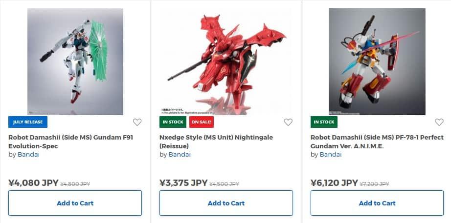 Figurines Gundam en vente dans la boutique en ligne de HobbyLink Japan