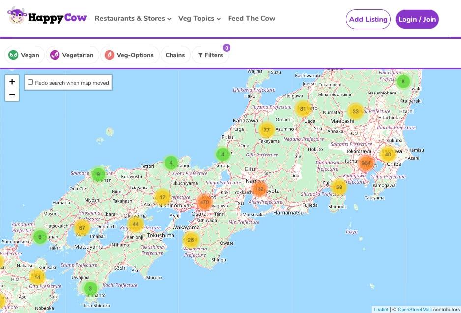 Carte répertoriant les restaurants végétariens au Japon