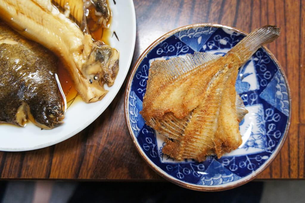 Repas préparé avec soin par notre hôte à Manabeshima