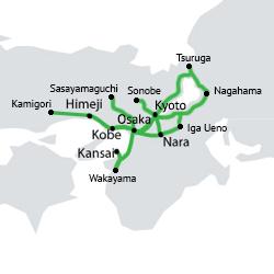 carte du réseau accessible avec le JR Kansai Area Pass