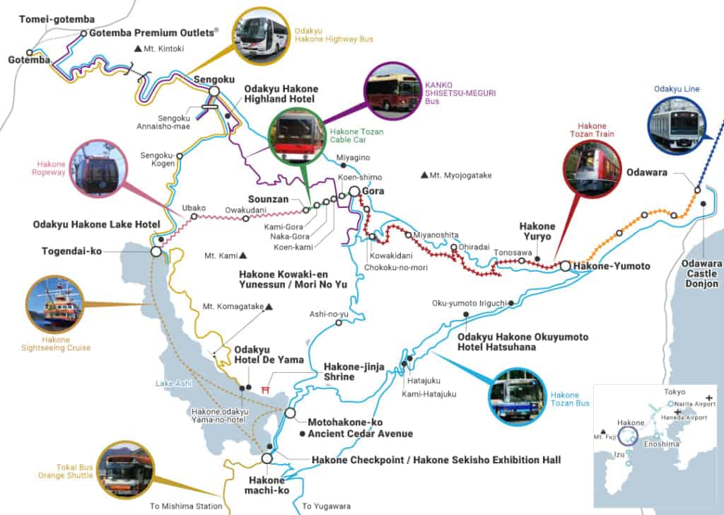 Carte du réseau de transport accessible avec le Hakone Freepass