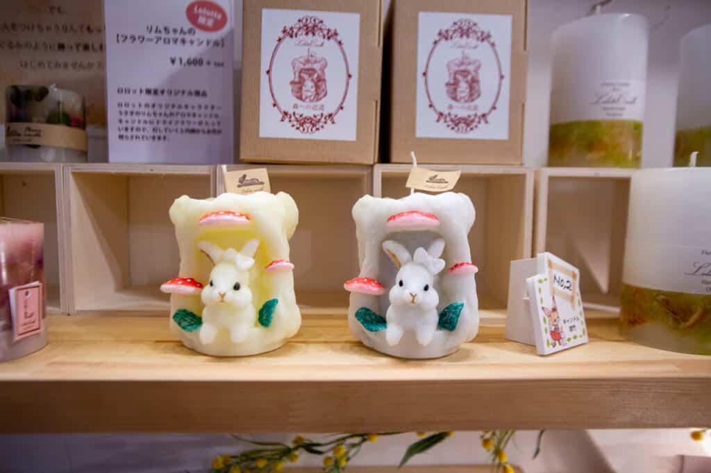 bougies japonaises artisanales en forme de lapins