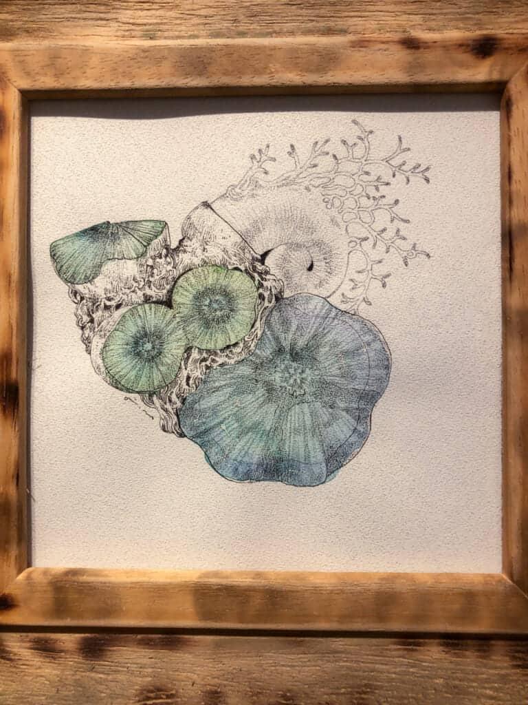 illustration de Airi Maeyama exposée dans une galerie d'osaka