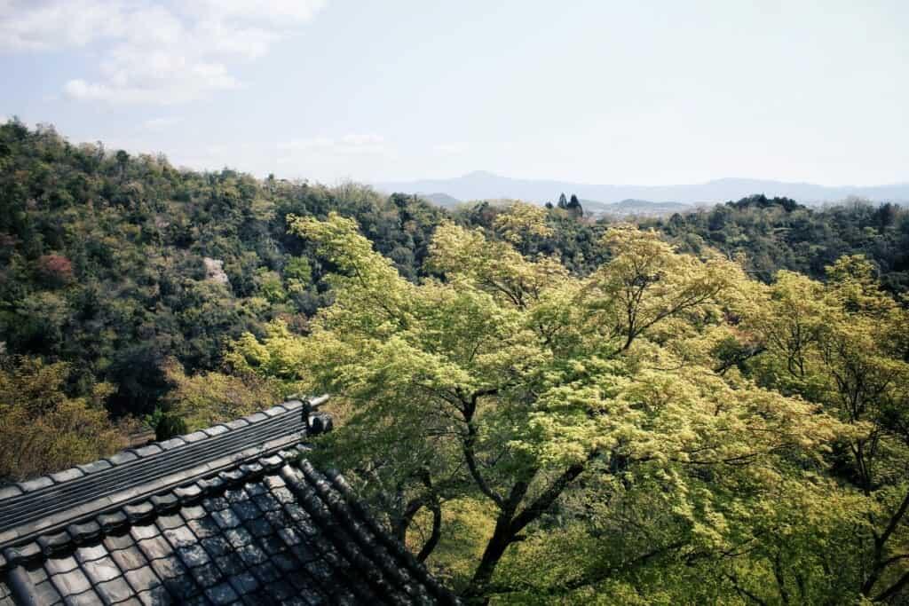 Vue depuis le temple Daihikaku Senkoji à Kyoto