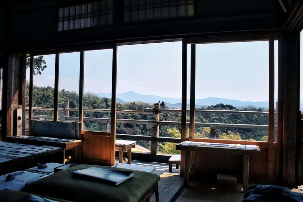 vue panoramique depuis un temple d'arashiyama à Kyoto