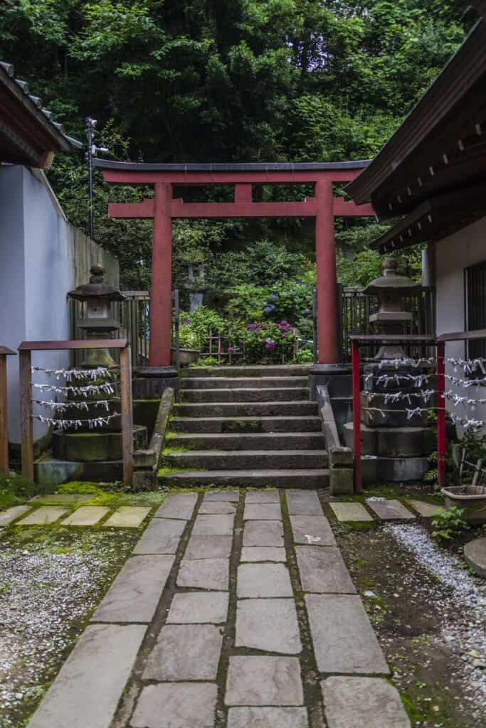 Un torii rouge dans le sanctuaire Oji Inari Jinja