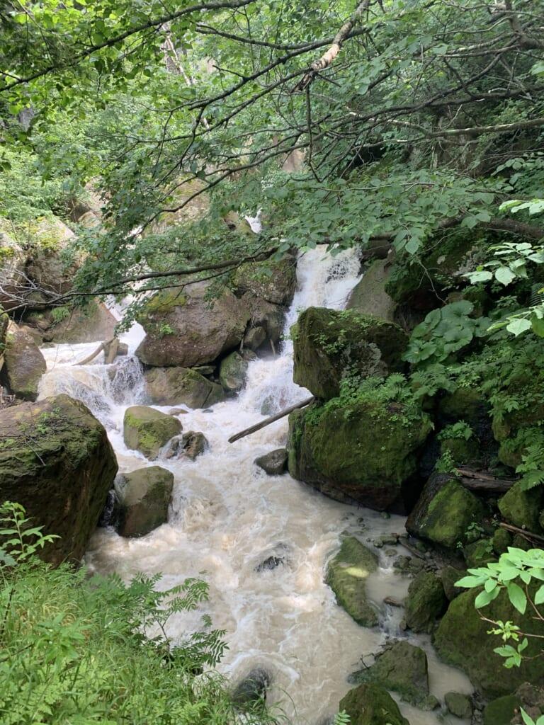 cascade dans l'un des parcs nationaux d'hokkaido