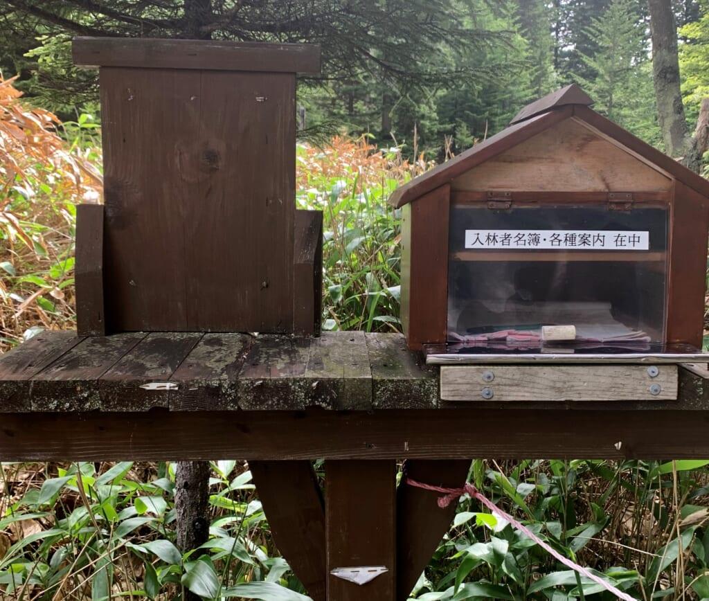 Boîte aux lettres au départ du sentier montant au mont Meakan