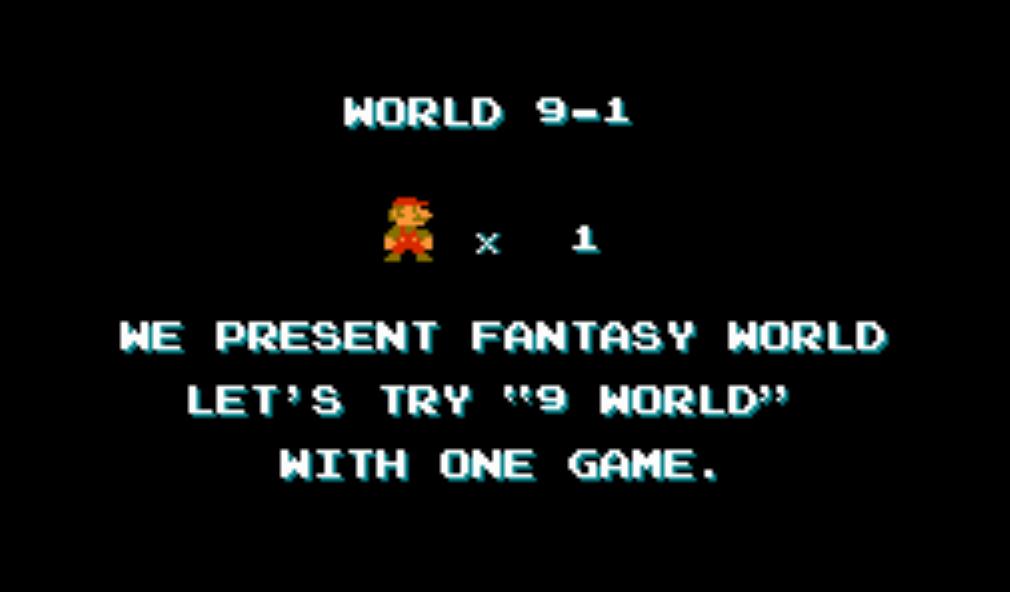 écran anglais dans la version japonaise de Super Mario Bros