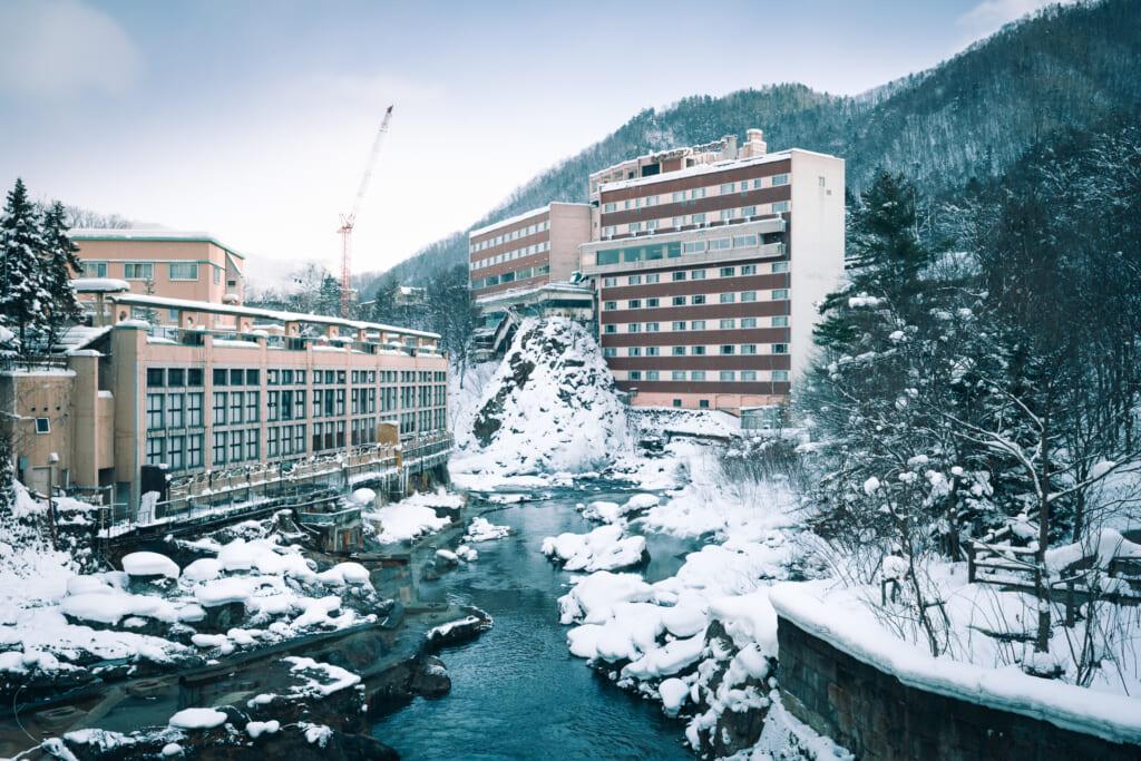 Le village de Jozankei, à Hokkaido, durant l'hiver