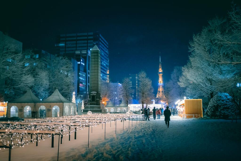 Des illuminations de noël dans le parc Odori de Sapporo