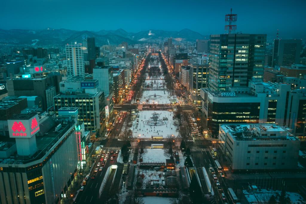 Sapporo en hiver depuis l'observatoire de la tour de Sapporo