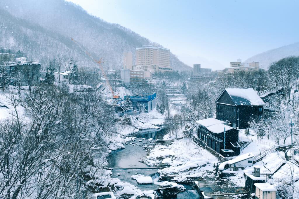Le village thermal de Jozankei en hiver