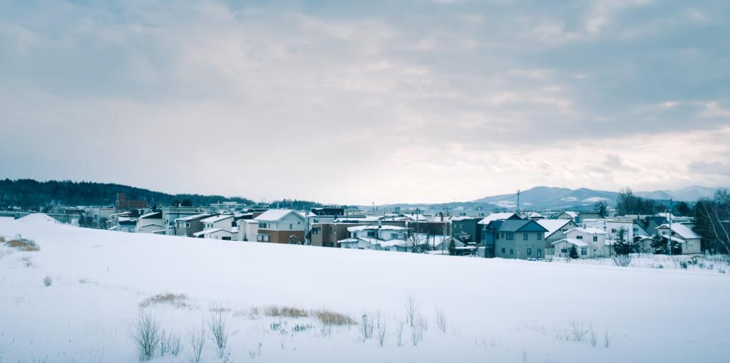 Paysage enneigé d'Asahikawa, une ville d'Hokkaido