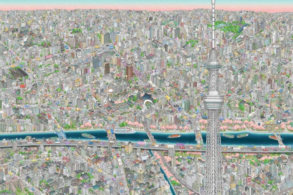 Vue depuis le Tokyo Skytree représenté dans une oeuvre digitale