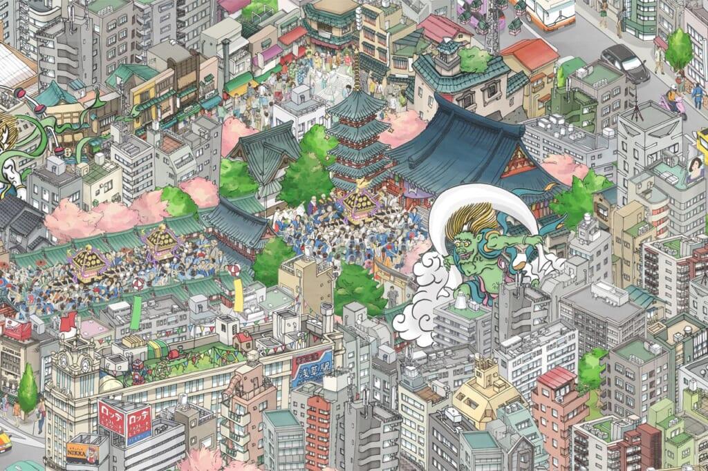 Le quartier d'Asakusa sur l'oeuvre de teamLab au Tokyo Skytree