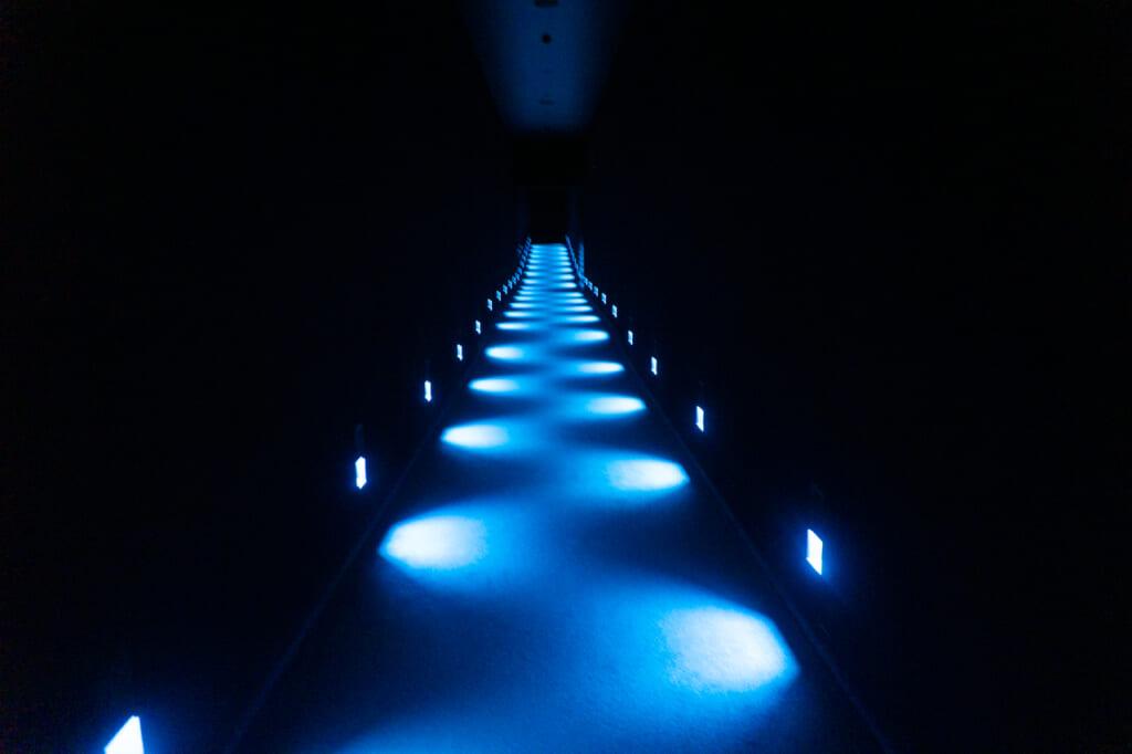 couloir éclairé par de faibles lumières bleues