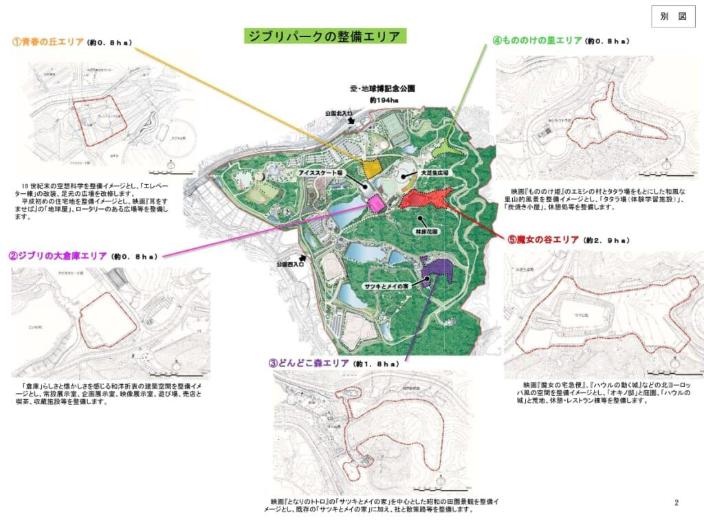 vue globale du parc Moricoro avec les cinq zones distinctes du parc Ghibli