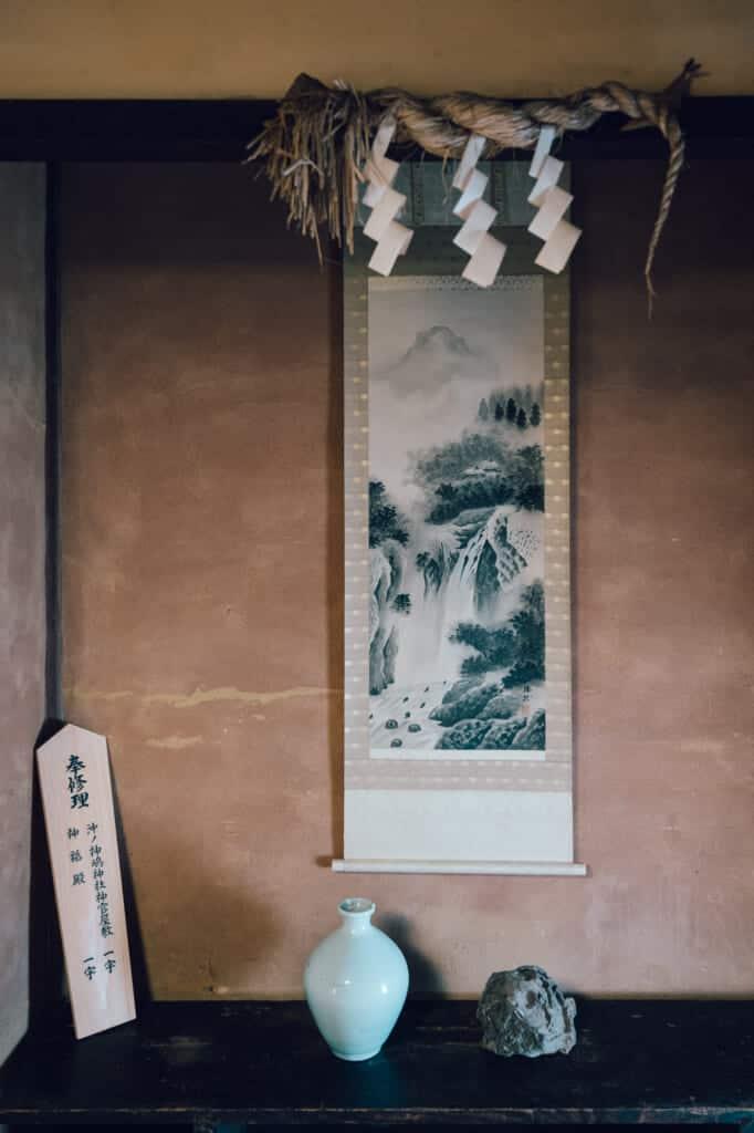 Dessin traditionnel dans une maison abandonnée dans la préfecture de Nagasaki