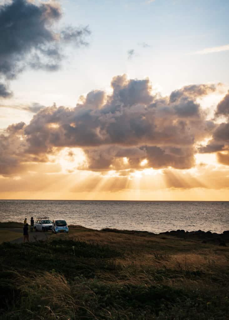 Coucher de soleil sur l'océan vu des îles de Goto