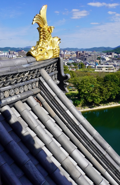 Shachihoko doré et vue depuis le château