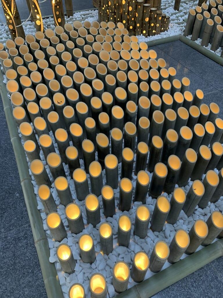 Installation Lumières de bambou détail