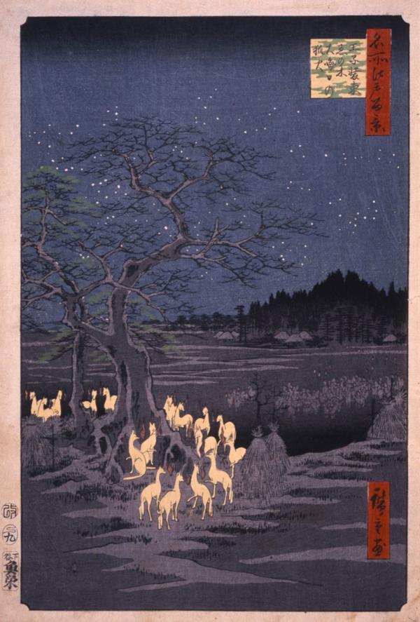 Ukiyo-e du Maître Hiroshige illustrant le rassemblement des renards sous l'enoki, l'arbre sacré d'Oji