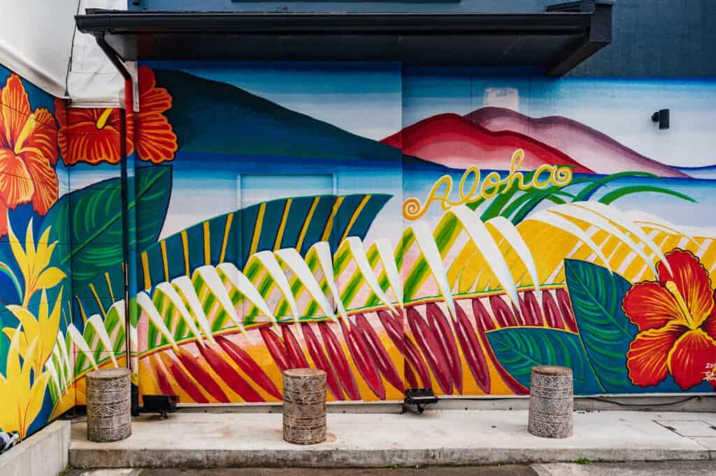 Peinture murale rappelant Hawaï au Japon, près d'Enoshima