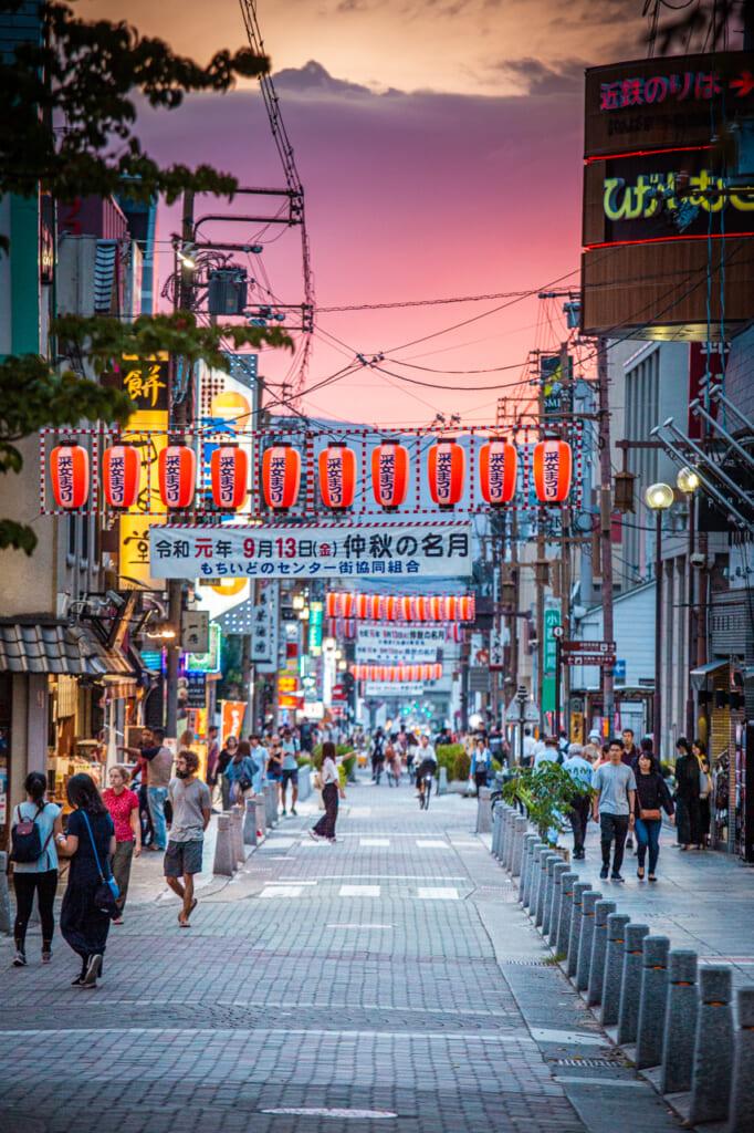 La rue Sanjo-dori, idéale au coucher du soleil